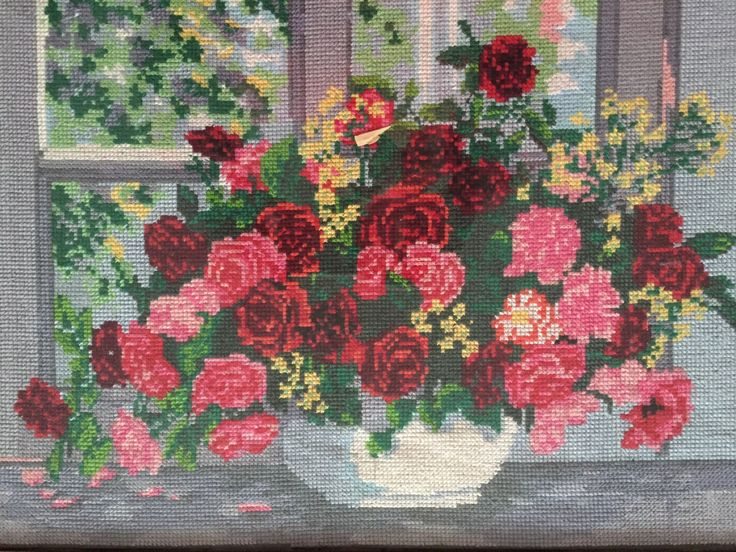 """Completed cross stitch, Home decoration, Framed cross stitch, Handmade embroidery -""""Basket with flowers"""". by NattikStudio on Etsy"""