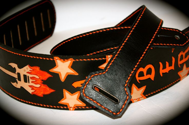 orange standing out on this black guitar strap.  Customize one today at www.etsy.com/etsy/flatlineleather