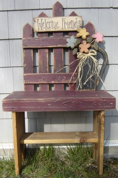 Welcome Friends Springtime Picket Bench 10 50 Wood