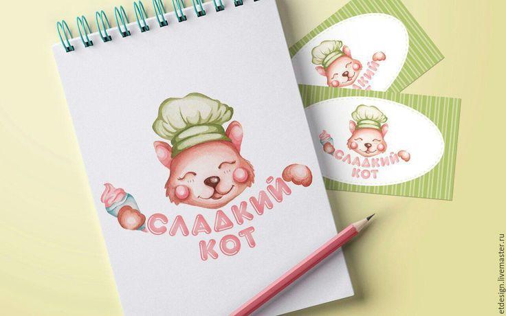 """Купить Акварельный логотип + дизайн визиток """"Сладкий Кот"""" - салатовый, логотип, акварельный логотип"""