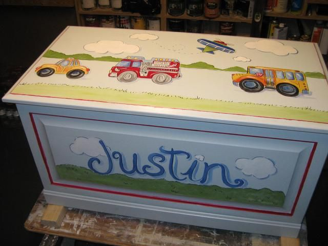 hand painted toy chest