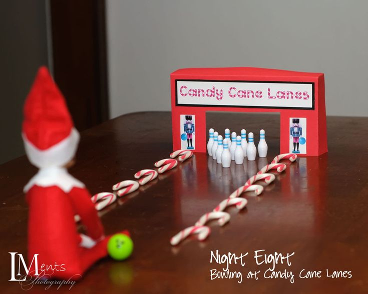 Elf bowling!  Love it!!!: Canes Lane, Elf Bowls, Candy Canes, Old Elf, Funny Elf, Shelf Ideas, Elves, Bowls Pin, Elf On The Shelf