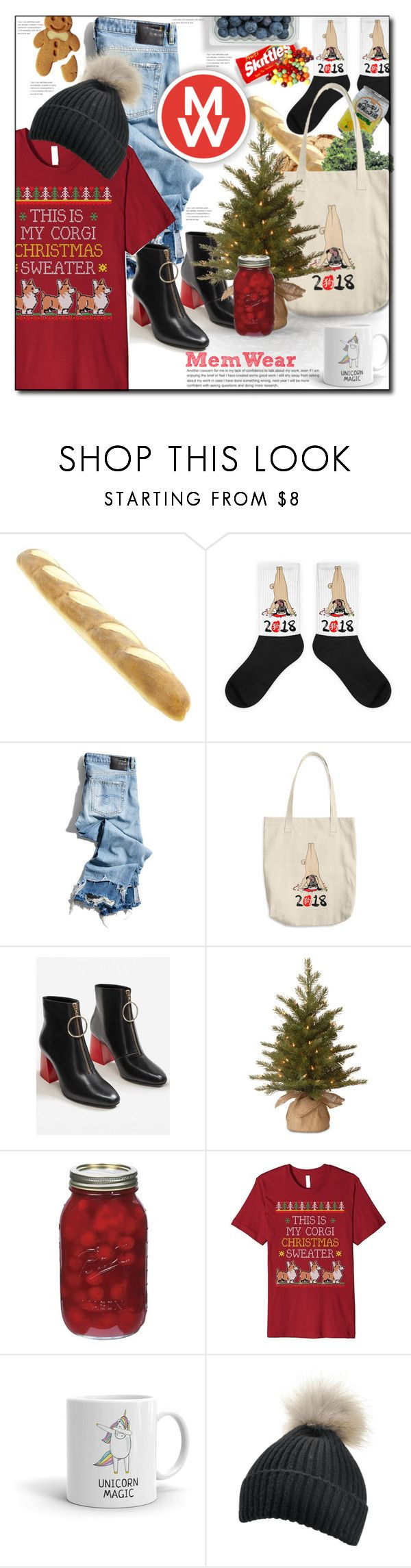 """""""MemWear: Win 20$ Cash For Christmas"""" by astromeria ❤ liked on Polyvore featuring Citron, Kale, R13, MANGO, National Tree Company and Corgi"""