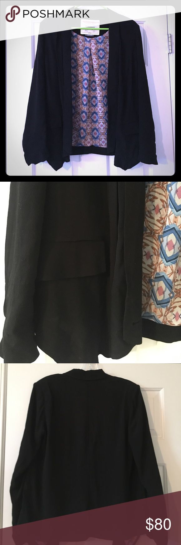 Black Crepe Blazer Beautiful black crepe blazer with fun lining! NWOT Cartonnier Jackets & Coats Blazers