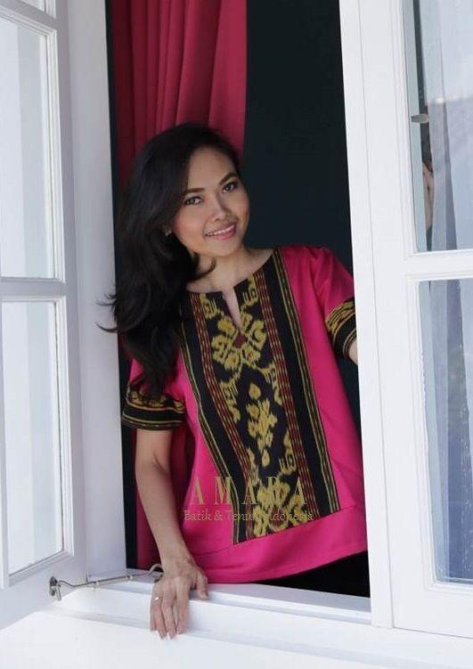 Tenun Tops Pink www.amarabatik.com