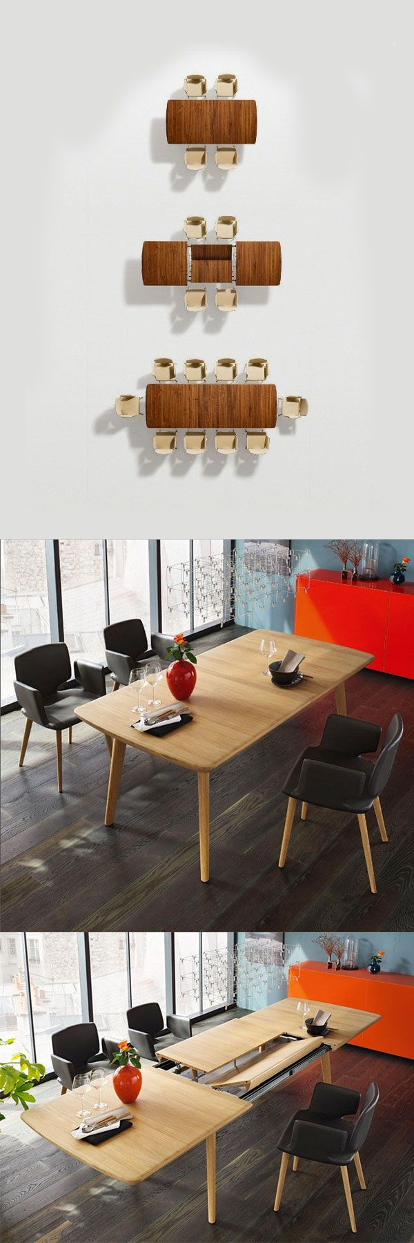 Expandable dining table with chairs