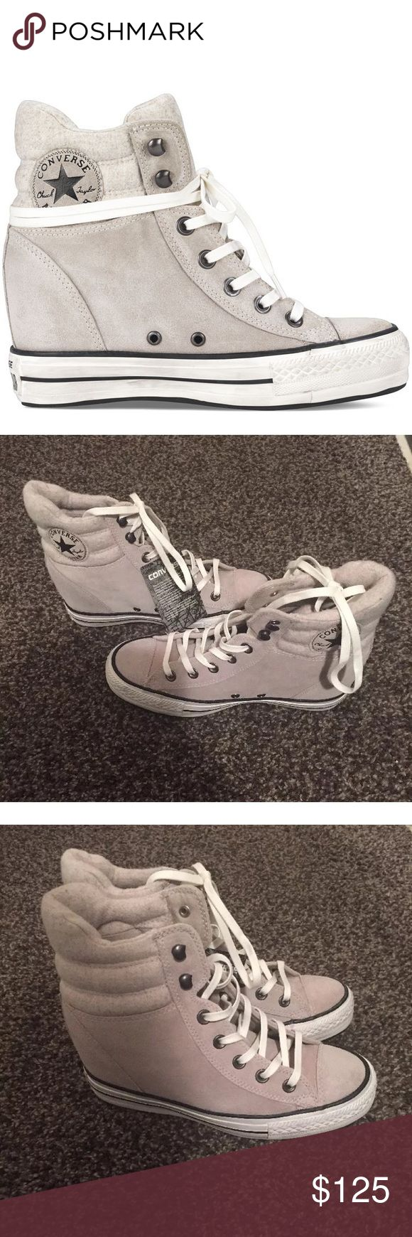 Converse wedge Chuck Taylor's gray suede Brand new converse wedge heel plush high tops.  The Chuck Taylor Hi sneakers with upward Platform has a hidden interior completely with suede ankle collar and tab top upholstered in fabric and quilted warm woolly. Converse Shoes