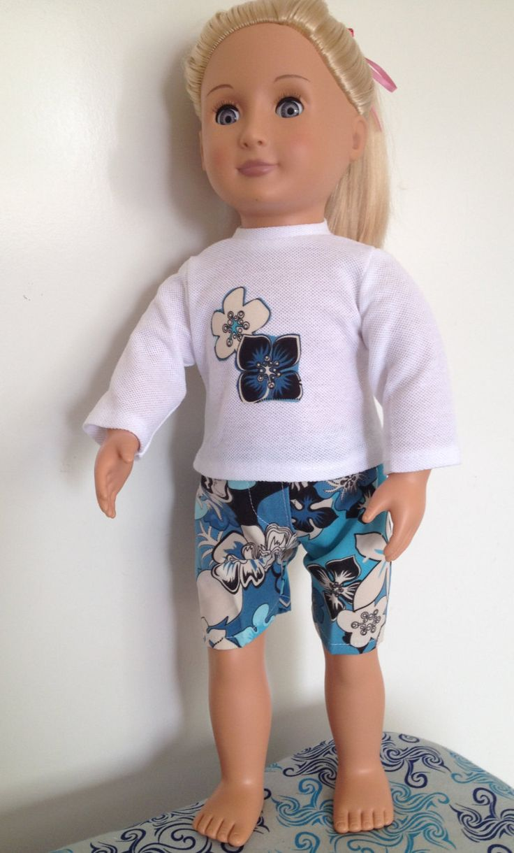 Summer fun swim outfit for 18in boy or girl dolls by TangledKat on Etsy