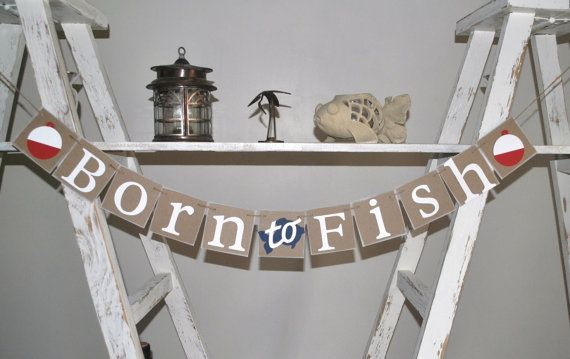 Born to Fish - Cute banner for the future fisherman!  *Our banners are made with 4x4 inch extra heavy chipboard squares. More durable than cardstock, our banners will become a memento of your happy occasion. BANNER IS 44 INCHES LONG BY 4 INCHES TALL WITH ADDITIONAL TWINE FOR HANGING.  Banner Description: 1. Chipboard: Brown 2. Letters: White 3.Corks - Red and White 4. Fish: Navy Blue 5. Twine: Natural Jute 6: Edges: Inked in white  If you like the banner the way it is, make it easy on…