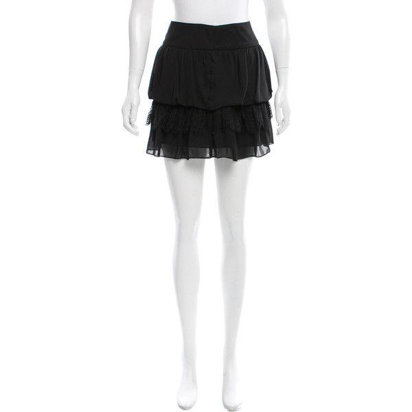 Pre-owned Sandro Lace-Trimmed Mini Skirt ($65) ❤ liked on Polyvore featuring skirts, mini skirts, black, sandro, lace trim skirt, short skirts, mini skirt and short mini skirts