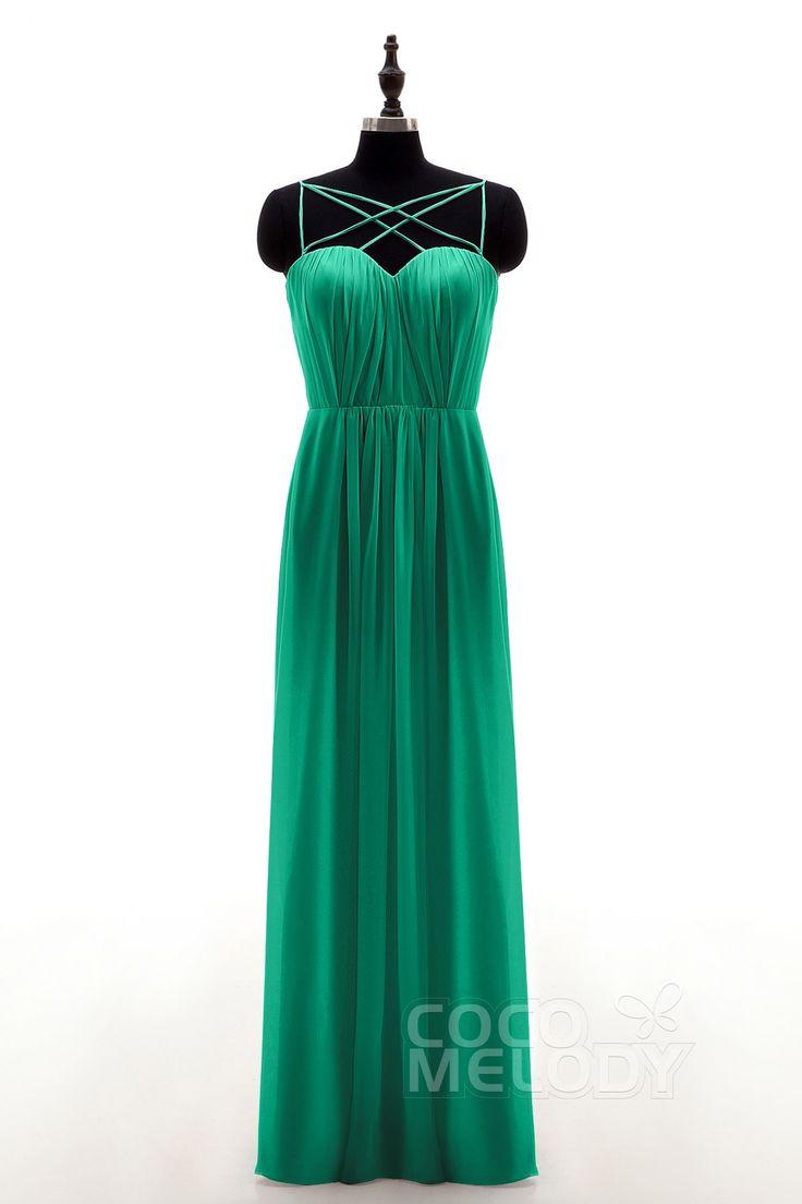 Sheath Spaghetti Strap Natural Floor Length Chiffon Sleeveless Zipper Bridesmaid Dress Pleating NB3315 #bridesmaiddresses #bridesmaids #chiffondresses #cocomelody #customdresses #greendresses