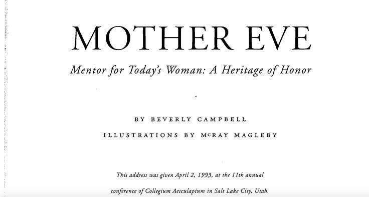 Mother EVE: Mentor for Today's Woman By Beverly Campbell