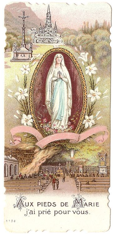 Our Lady of Lourdes & Basilica  French Holy Card                                                                                                                                                                                 More
