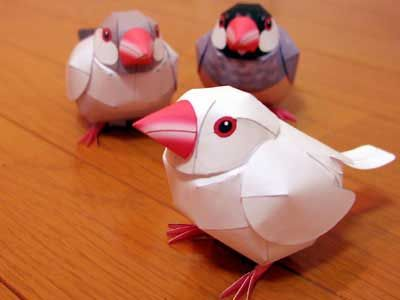 "Paper Craft Printable Cute Java Sparrows, in many different colors, even a ""color your own"" one. Free to Download Printable (print, cut out, fold, glue) Templates."