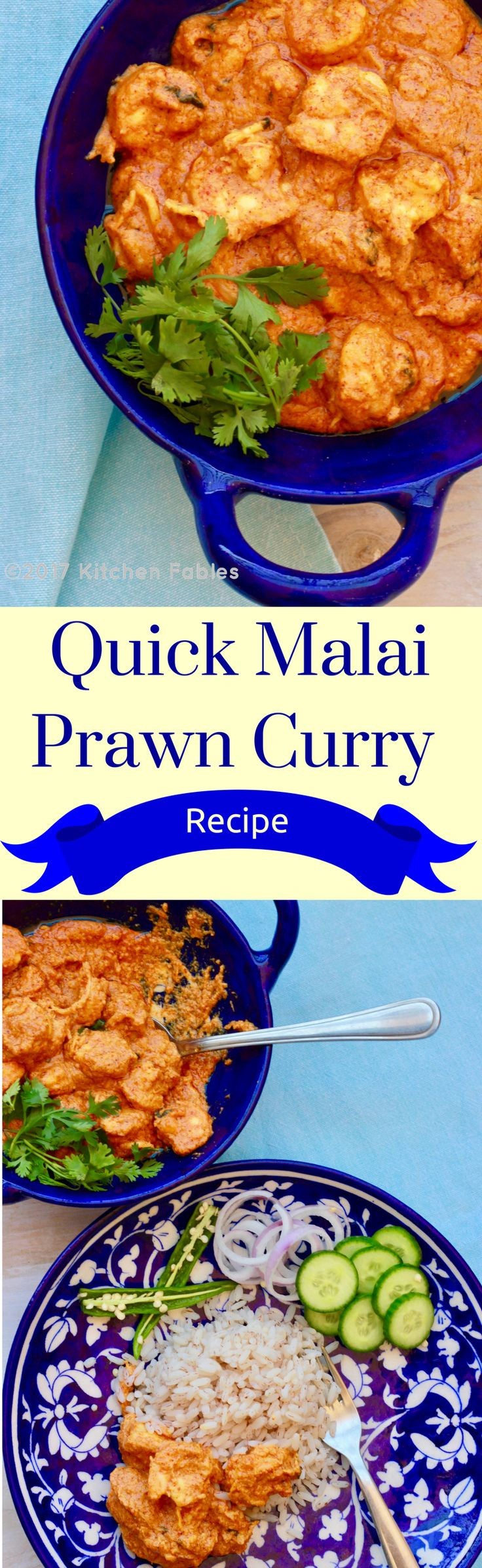 An easy & healthy recipe of Quick Malai Prawn Curry made in less than 30 minutes with just 7 Ingredients. via @Kitchen Fables