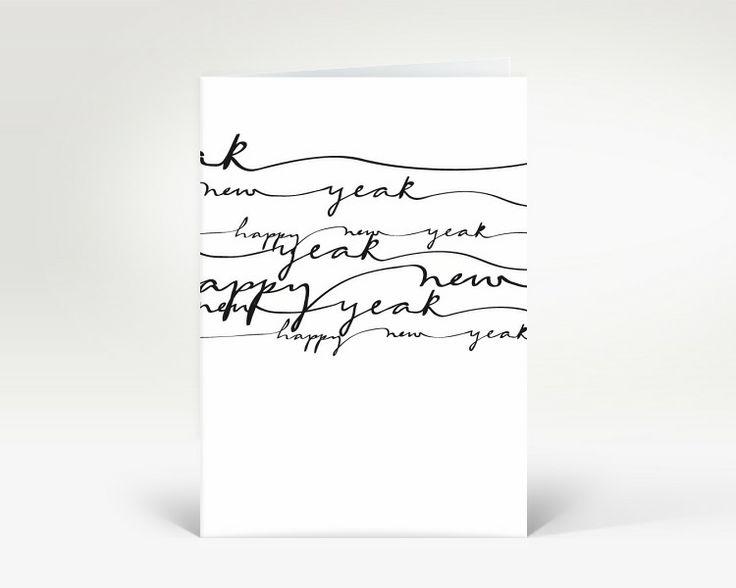 Neujahrskarte Schwarz geschwungene Lettern | Designer-Neujahrskarte DK263