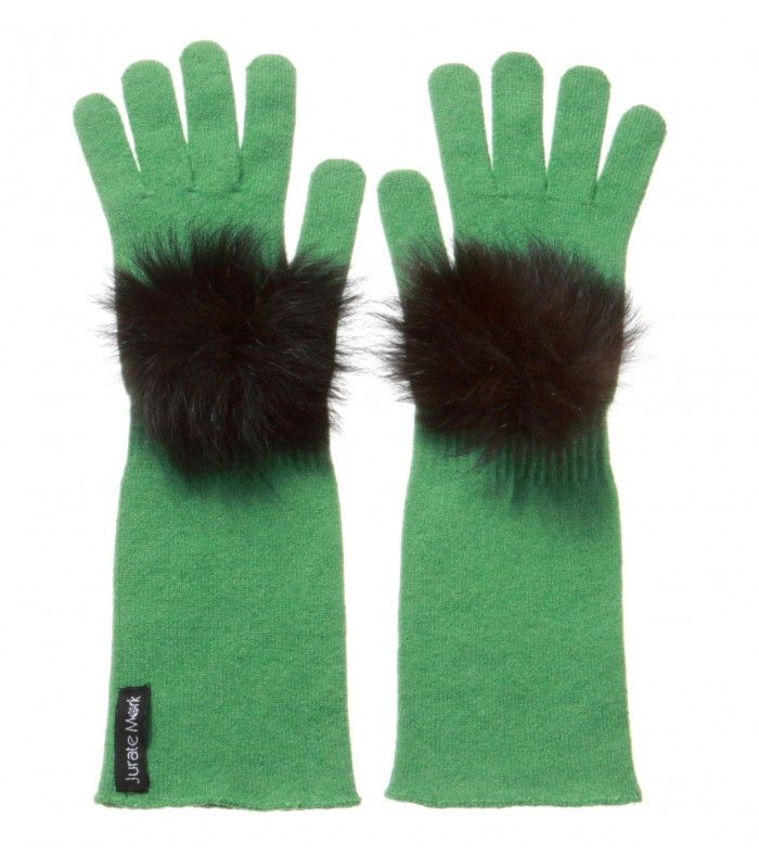 Cashmere Gloves with Fox Fur Decoration packaged in Signature box