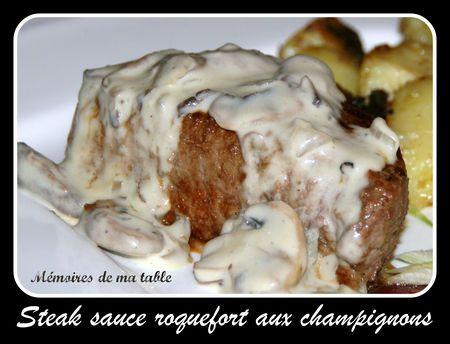 SAUCE AU ROQUEFORT (crème, champignons de Paris, roquefort - ou bleu d'Auvergne - jus de citron, huile d'olive, sel/poivre)
