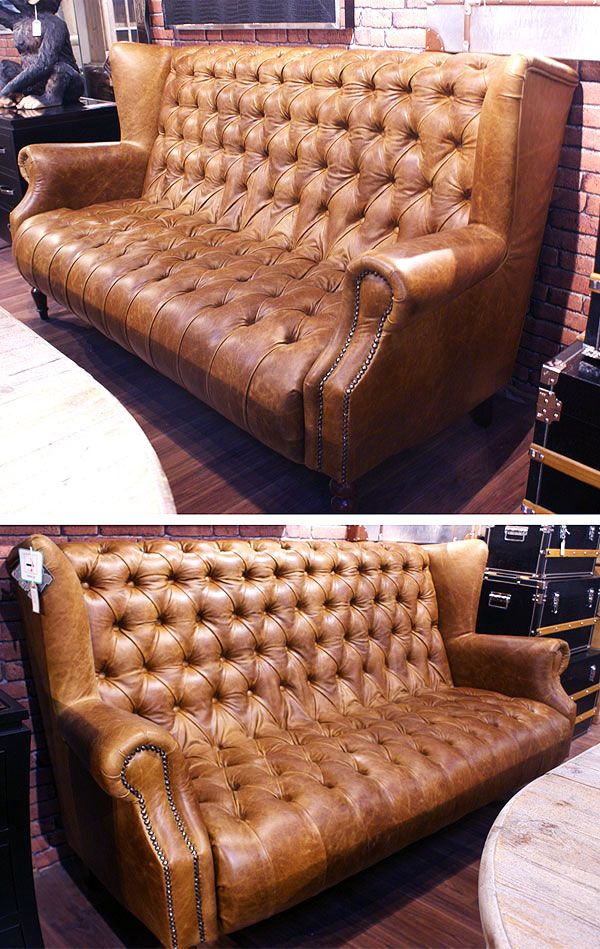 Vintage Leather Sofa Highback Chesterfield In 2019 Vintage