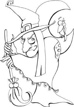 Halloween omalovánka čarodějnice