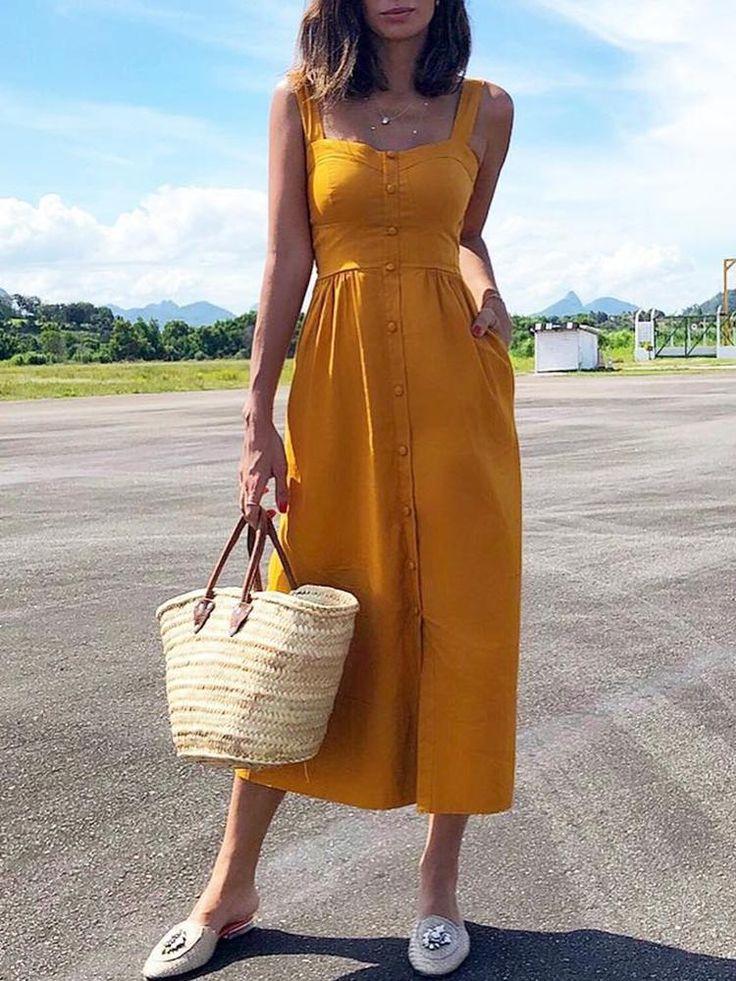 Solide Knopf-Design-dickes Band-beiläufiges Kleid…