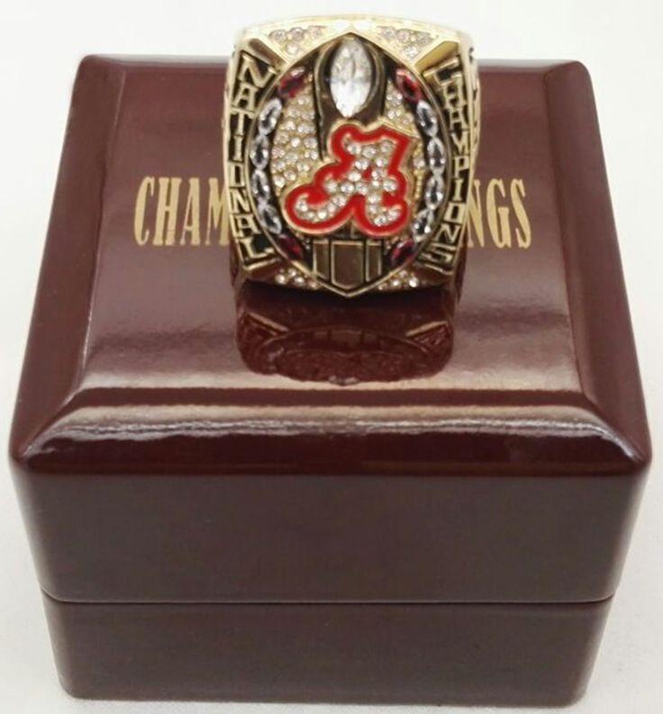 Großhandel 2015 Alabama Crimson Tide Nationalen Zink-legierung gold überzogene Kundenspezifische Sport Replik Meisterschaft Ring Mit Holzkisten