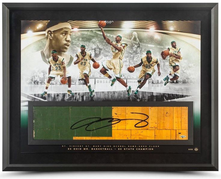 "LEBRON JAMES Autographed ""Golden Child"" Game Used Floor Collage UDA LE 23"