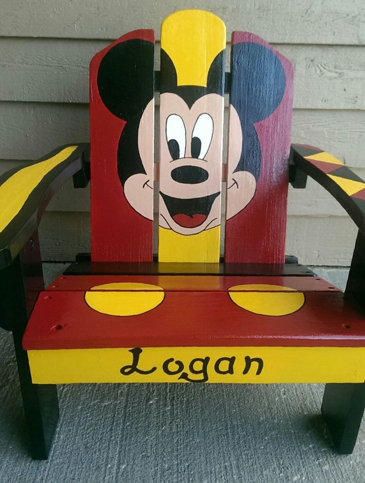 Back to school Mickey Mouse, children's hand painted Adirondack chair. by TheArtCrib on Etsy
