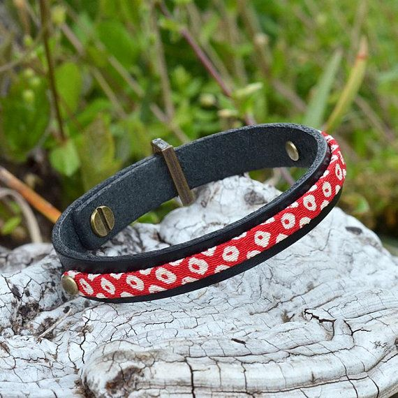Japanese jewelry. Black leather bracelet. Men. Mens. Womens. Red. Kimono. Gift. Japanese clothing. Amulet. Birthday. For her. Made in Japan