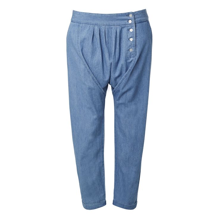 100% Cotton Button Harem Pant. Comfortable fitting silhouette features a fixed waistband with side button up panel, side…