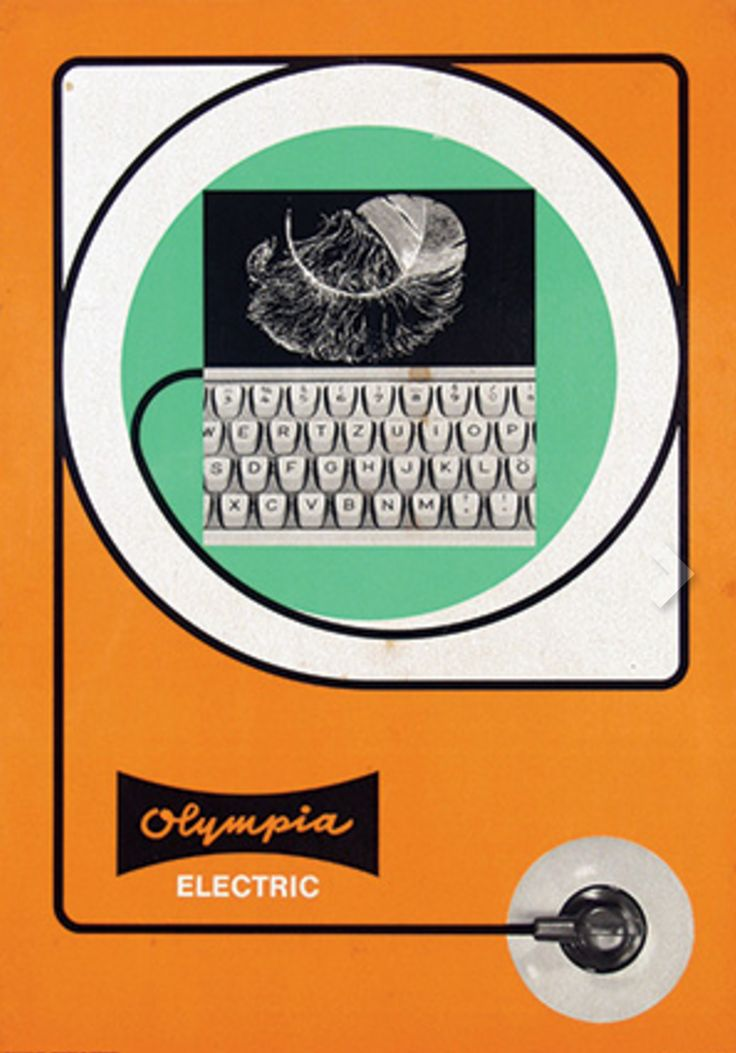 """Olympia Electric"", Typewriter Poster Ad., Size: 29,5 x 42 cm., cardboard mount, (ca. 1965) - Graphic Design Anonymous."