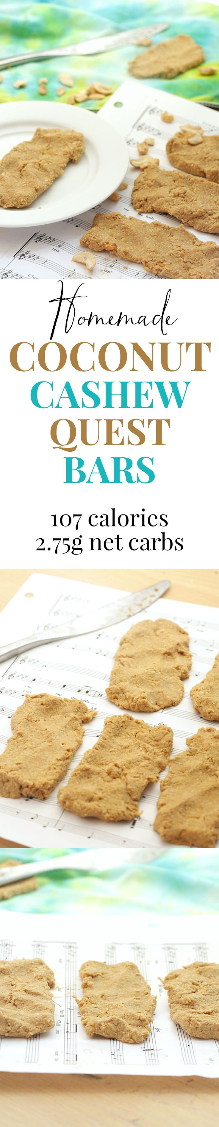 Homemade Coconut Cashew Quest Bars. Packed with protein and only 100 calories each! And they're so much better than the store bought version.