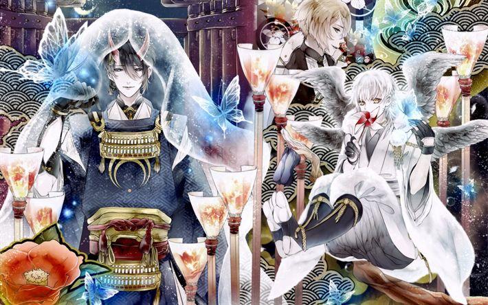 Download wallpapers Touken Ranbu, Kogitsunemaru, Juzumaru Tsunetsugu, Gokotai, browser games