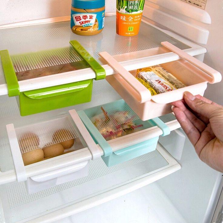 Новые Пластиковые Кухня Холодильник Стеллаж Для Хранения Холодильник Морозильник, Полки Держатель выдвижной Ящик Организатор Space saver купить на AliExpress