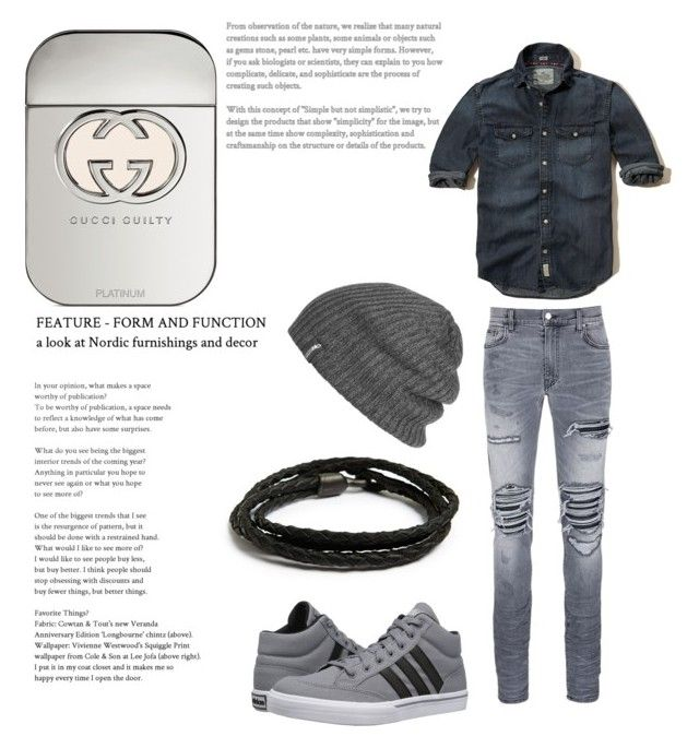 """""""Fall boy"""" by loekievanede on Polyvore featuring Hollister Co., AMIRI, adidas, MIANSAI, Outdoor Research, Gucci, men's fashion and menswear"""