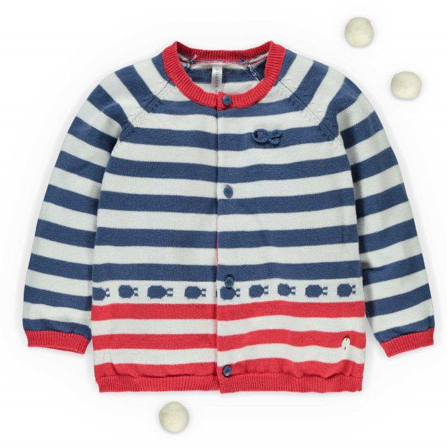 Cotton knit cardigan / Cardigan rayé à manches longues Bleu à motifs Souris Mini