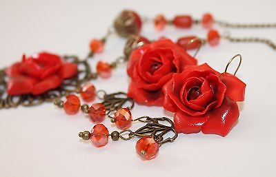Red Roses Flowers Jewelry Set /Pendants Necklace Earrings/ Hand