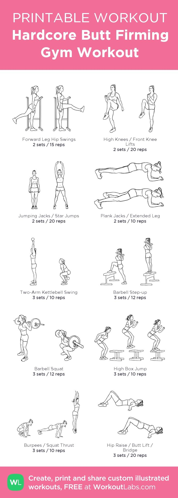 Hardcore Butt Firming Gym Illustrated Workout for Women • Click to customize and download a FREE PDF! #customworkout #weightlossbeforeandafter