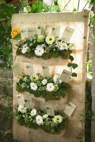Avec une toile en fibre ( vous renseigner en jardinerie), émerveillez vos convives grâce à ce plan de tables très végétal…