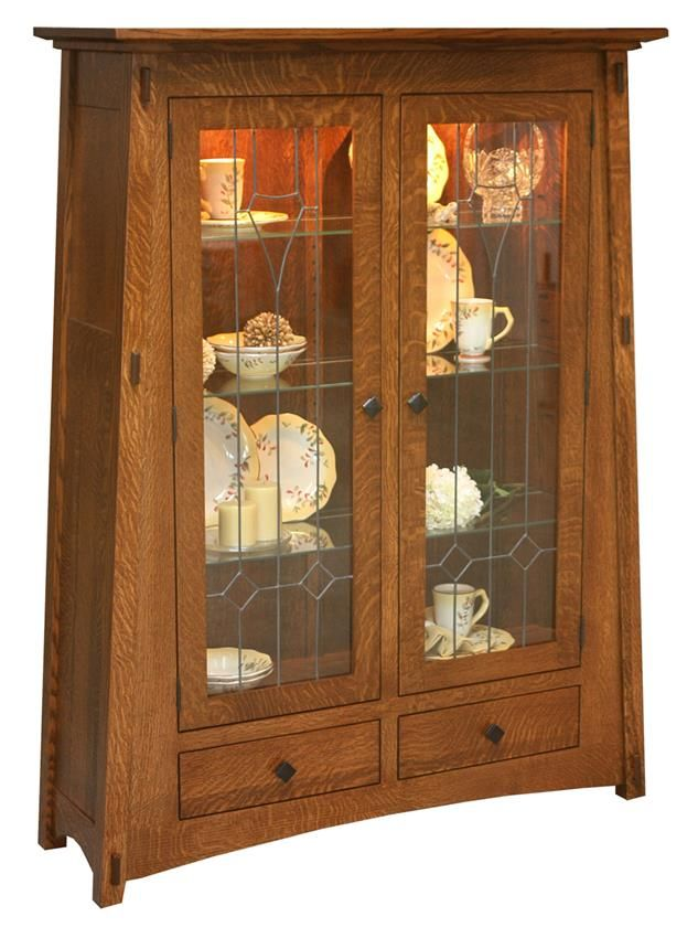 Amish McCoy Mission Curio Cabinet Touch lighting and soft close drawers make this mission style furniture a joy to use.