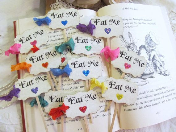 Eat Me Cupcake Toppers with ribbons Rainbow by auntiesjammies