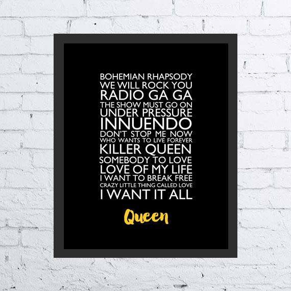 Queen songs printable wall art decor / poster Queen band, songs digital typography rock poster Freddy Mercury setlist, gift fan