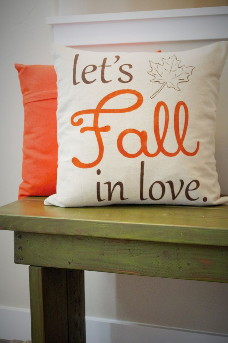 "This linen "" let's Fall in love"" pillow cover is sure to add texture, dimension…"