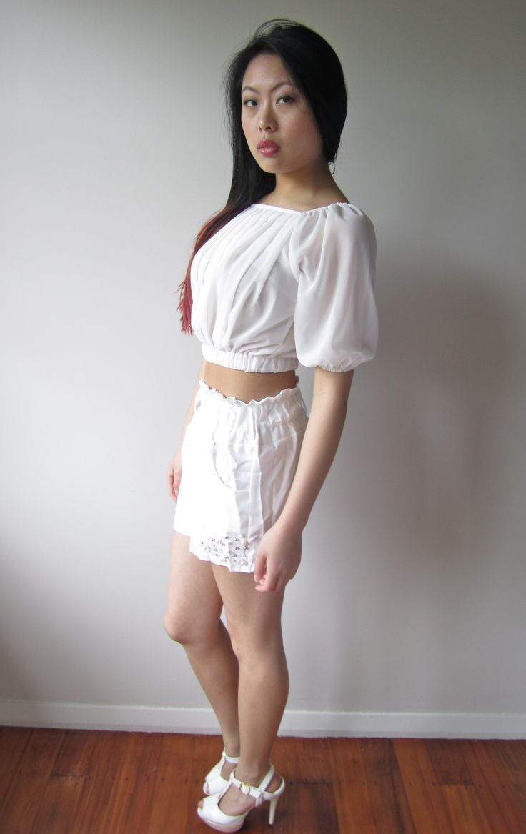 White Sheer Top Size 06 $14.99  White Waist-High Shorts with Silver and Pearl Beads Size 06 $9.99