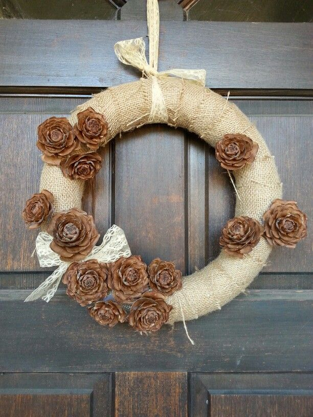 Burlap, pinecones and lace.