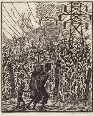 Lucienne Bloch (artist)  American, 1909 - 1999  Land of Plenty, 1936 woodcut Image: 270 x 223 mm Sheet: 413 x 306 mm Reba and Dave Williams Collection, Gift of Reba and Dave Williams  2008.115.944