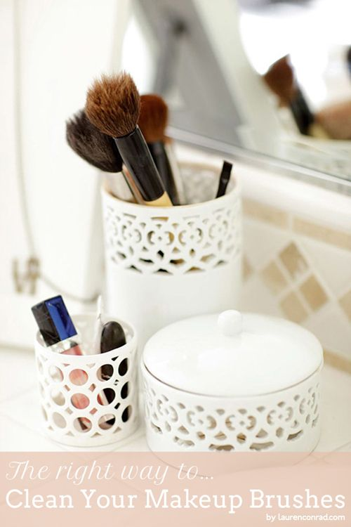 The right way to clean your makeup brushes.
