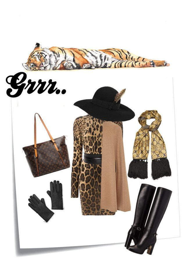 """Leopard, gold and black leather."" by marievel on Polyvore featuring Post-It, Dolce&Gabbana, Alexander McQueen, Oscar de la Renta, Etro, Yves Saint Laurent, Burberry, Louis Vuitton and outfit"