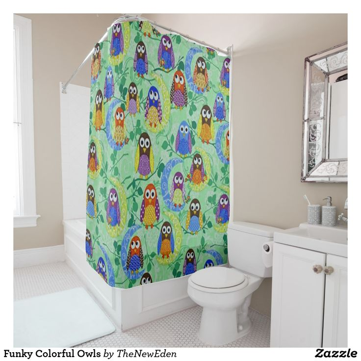 Funky Colorful Owls Shower Curtain