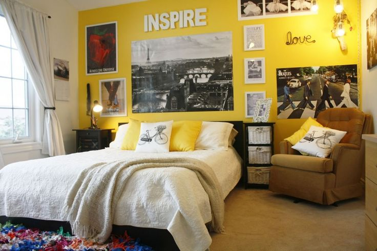 Teen Room. Beauteous Teenage Girl Room Decor Ideas. Cool Teenage Girl Room Decor Ideas Feature White Pillow And Yellow Pillow And White Fabric Cover Together With Brown Fabric Cover Tufted Padded Chair And Also Colorful Fur Rug And Black Stained Wooden Nightstand Also Black Stained Wooden Woven Basket Storage And Also White Fabric Curtain. Teenage Girl Room Decor Ideas